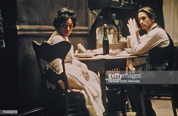 Robert De Niro and Francesca De Sapio perform a scene in The Godfather Part II directed by Francis Ford Coppola in 1974 in Hollywood California