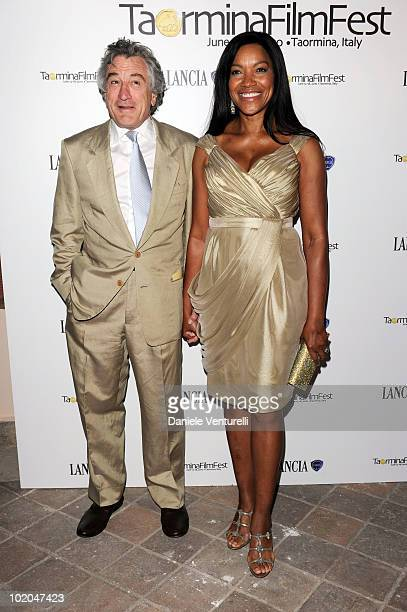 Robert De Niro and Grace Hightower attend the Premio Citta Di Taormina And Taormina Arte Award during the Taormina Film Fest 2010 on June 13 2010 in...