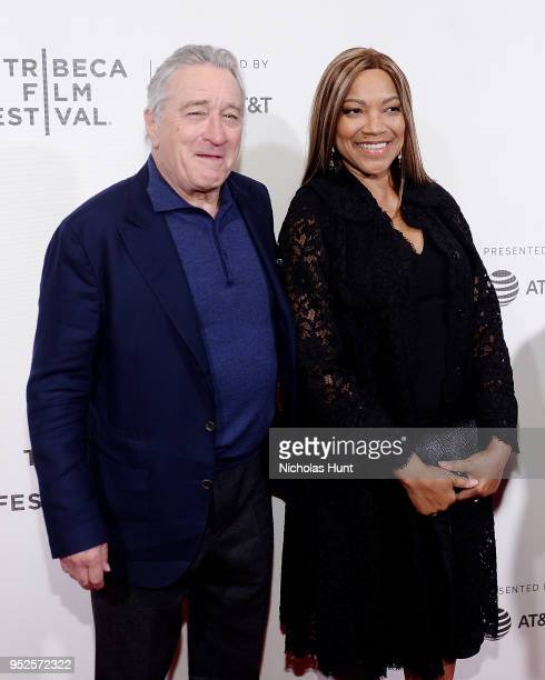 Robert De Niro and Grace Hightower attend the screening of The Fourth Estate 2018 Tribeca Film Festival at BMCC Tribeca PAC on April 28 2018 in New...