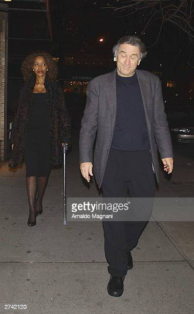 Robert De Niro and his wife Grace Hightower leaving the San Domenico restaurant November 18 2003 in New York City