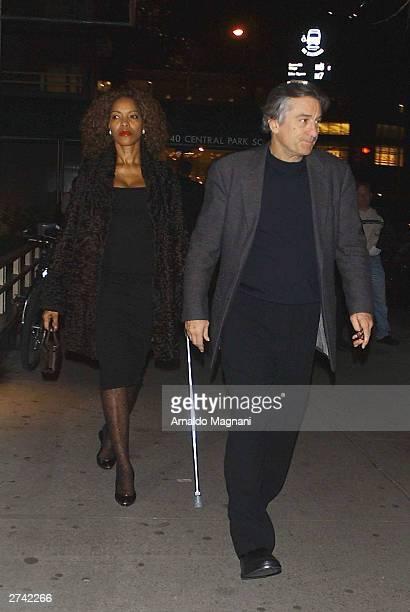 Robert De Niro and his wife Grace Hightower leaving the San Domenico restaurant November 18 2003 in New York City