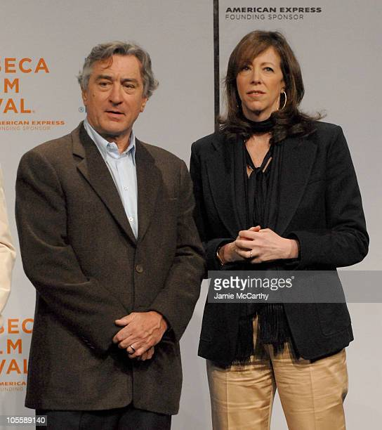 Robert De Niro and Jane Rosenthal during 5th Annual Tribeca Film Festival Opening Press Conference at Tribecca Performing Arts Center in New York...