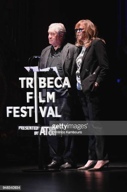 Robert De Niro and Jane Rosenthal speak at the Opening Night Gala of Love Gilda 2018 Tribeca Film Festival at Beacon Theatre on April 18 2018 in New...
