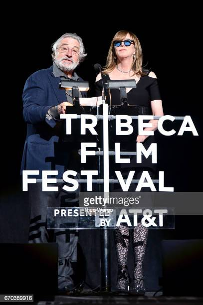 Robert De Niro and Jane Rosenthal speak onstage at the Clive Davis The Soundtrack of Our Lives Premiere during the 2017 Tribeca Film Festival at...
