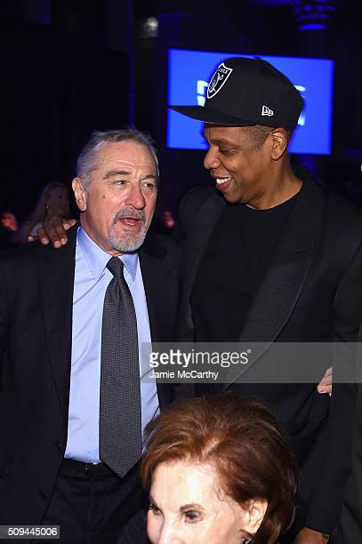 Robert De Niro and Jay Z attend the 2016 amfAR New York Gala at Cipriani Wall Street on February 10 2016 in New York City