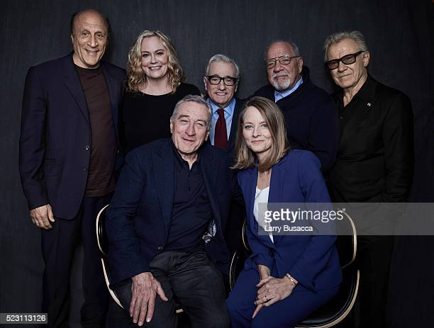 Robert De Niro and Jodie Foster pose with Michael Phillips Cybill Shepherd Martin Scorsese Paul Schrader and Harvey Keitel at the 'Taxi Driver' 40th...