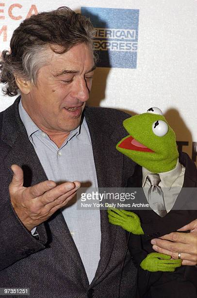 Robert De Niro and Kermit the Frog attend the premiere of 'The Muppets' Wizard of Oz' at the Tribeca Family Festival