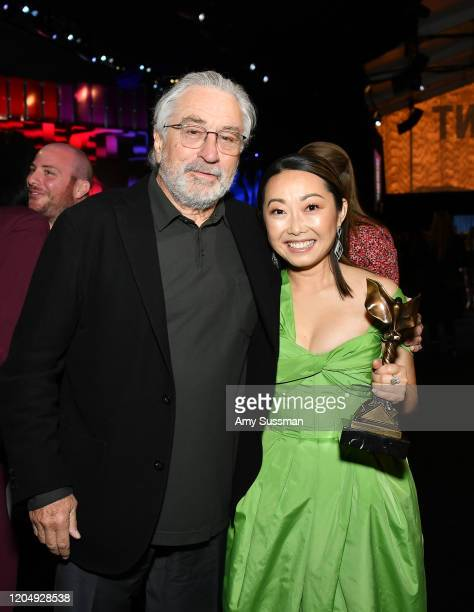 Robert De Niro and Lulu Wang winner of Best Feature for 'The Farewell' during the 2020 Film Independent Spirit Awards on February 08 2020 in Santa...