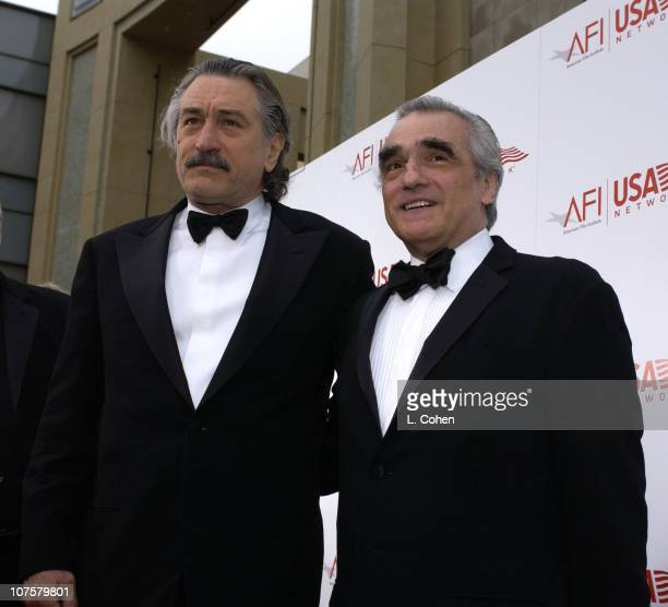 Robert De Niro and Martin Scorsese during 31st AFI Life Achievement Award Presented to Robert DeNiro Red Carpet by Lester Cohen at The Kodak Theater...
