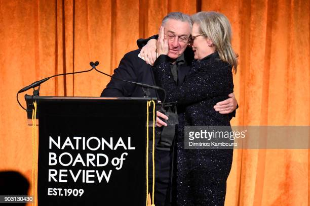 Robert De Niro and Meryl Streep embrace onstage during the National Board of Review Annual Awards Gala at Cipriani 42nd Street on January 9 2018 in...