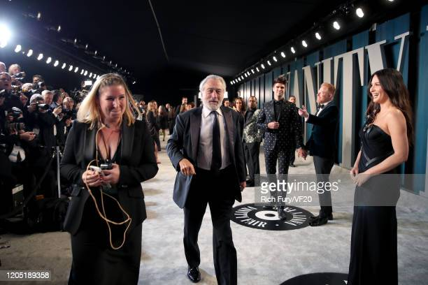 Robert De Niro and Olivia Munn attend the 2020 Vanity Fair Oscar Party hosted by Radhika Jones at Wallis Annenberg Center for the Performing Arts on...