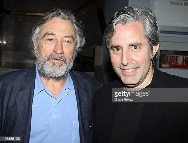 Robert De Niro and Paul Weitz pose at the 'Trust' OffBroadway opening night at the Second Stage Theatre on August 12 2010 in New York City