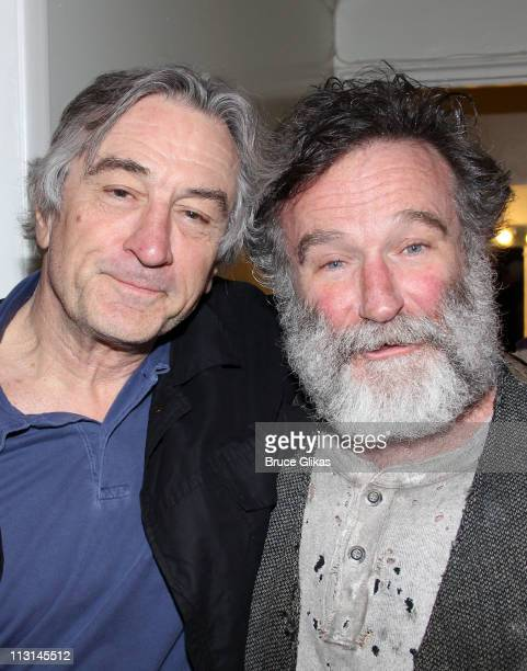 Robert De Niro and Robin Williams pose backstage at the hit play Bengal Tiger at the Baghdad Zoo on Broadway at The Richard Rogers Theater on April...