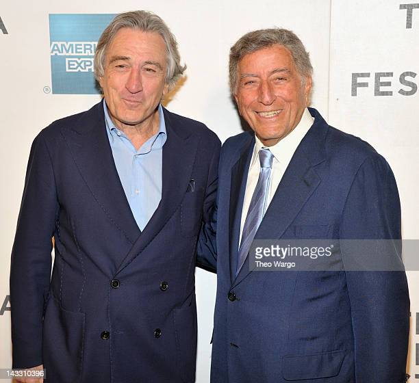 """Robert De Niro and Tony Bennett attend the premiere of """"Zen of Bennett"""" during the 2012 Tribeca Film Festival>> at BMCC Tribeca PAC on April 23, 2012..."""