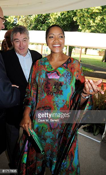 Robert De Niro and wife Grace Hightower attend the dinner in honour of Nelson Mandela celebrating his 90th birthday at Hyde Park on June 25 2008 in...