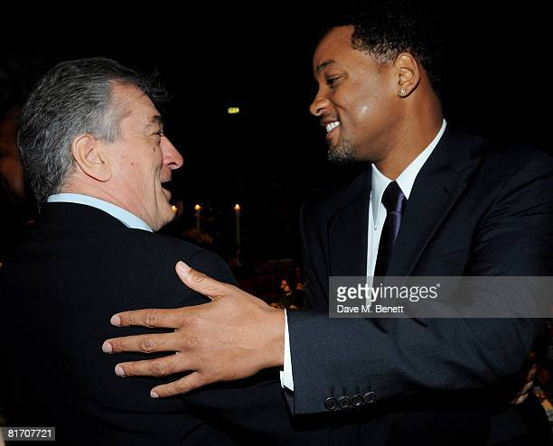 Robert de Niro and Will Smith attend the dinner in honour of Nelson Mandela celebrating his 90th birthday at Hyde Park on June 25 2008 in London...
