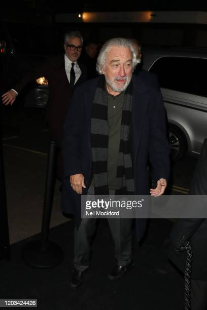 Robert De Niro arrives at the Charles Finch CHANEL PreBAFTA Party at 5 Hertford Street on February 1 2020 in London England