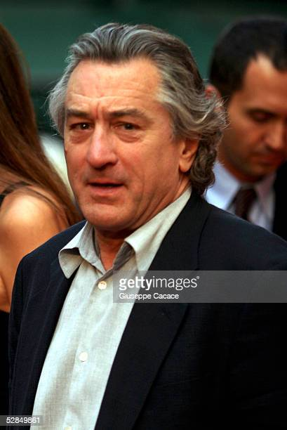 Robert De Niro arrives at the inaugural ceremony of the Robert De Niro Sr painting exhibition on May 16 2005 in Rome Italy