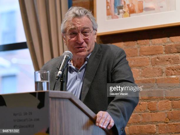 Robert De Niro attends the Jury Welcome Lunch 2018 Tribeca Film Festival at Tribeca Grill Loft on April 19 2018 in New York City