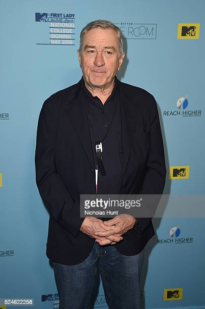 Robert De Niro backstage during the 3rd Annual College Signing Day at the Harlem Armory on April 26 2016 in New York City The event cohosted by MTV...