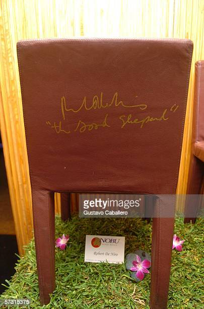 Robert De Niro chair at auction of chairs signed by celebrities to benefit Miami Children's Hospital at Nobu at the Shore Club on April 9 2006 in...