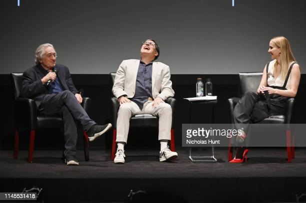Robert De Niro, David O. Russell and Jennifer Lawrence speaks at the Tribeca Talks - Director Series - David O. Russell with Jennifer Lawrence at the...