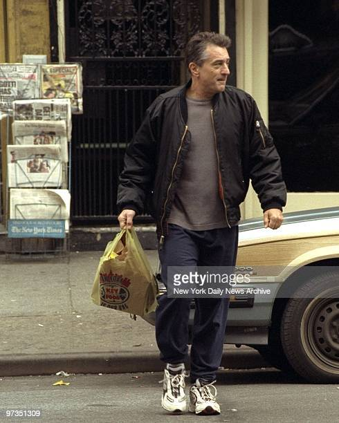 Robert De Niro during filming of movie 'Flawless' on Ave A in Manhattan