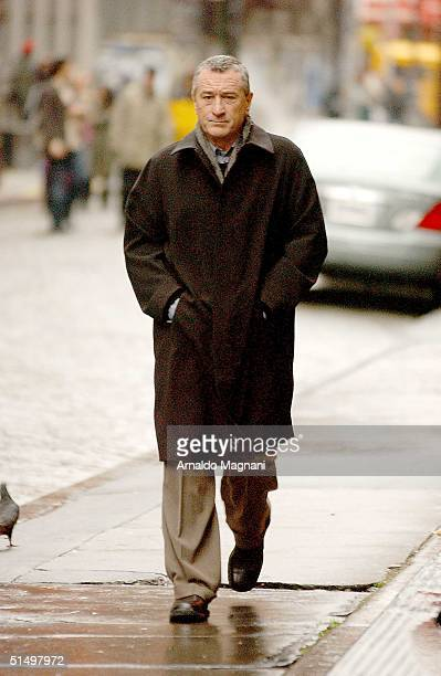Robert De Niro films a commercial for American Express in SoHo October 19 2004 in New York City