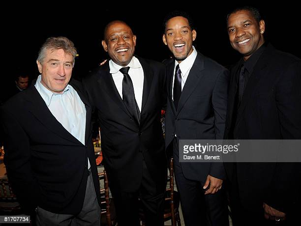 Robert de Niro Forest Whitaker Will Smith and Denzel Washington attend the dinner in honour of Nelson Mandela celebrating his 90th birthday at Hyde...