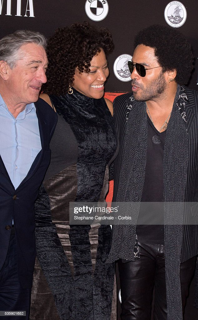 Robert de Niro, Grace Hightower and Lenny Kravitz attend the 'Malavita' premiere at Europacorp Cinemas at Aeroville Shopping Center, in Roissy-en-France, France.