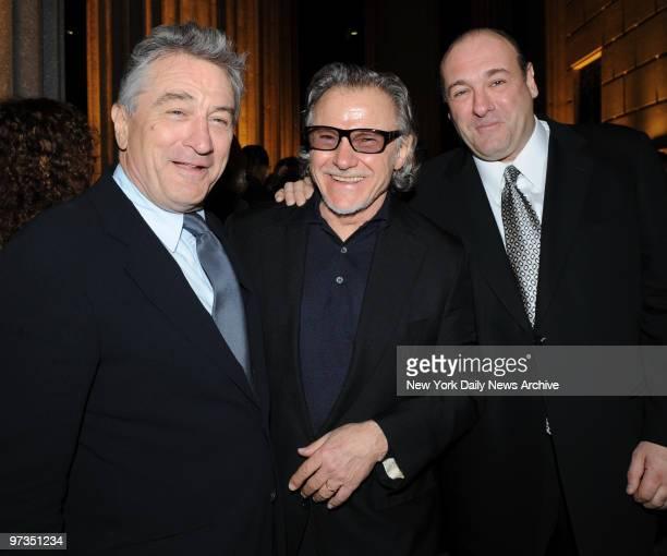 Robert De Niro Harvey Keitel James Gandolfini and Chazz Palminteri get together for a photo at the vanity fair Tribeca Film Festival Party held at...