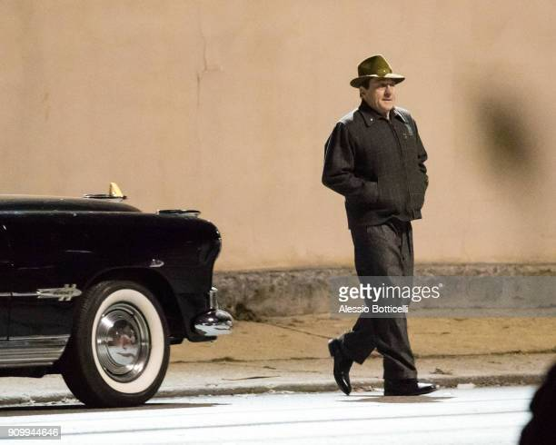 Robert De Niro is seen filming a night scene for 'The Irishman' on January 24 2018 in New York New York