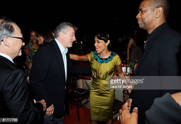 Robert de Niro Jada Pinkett Smith and Denzel Washington attend the dinner in honour of Nelson Mandela celebrating his 90th birthday at Hyde Park on...