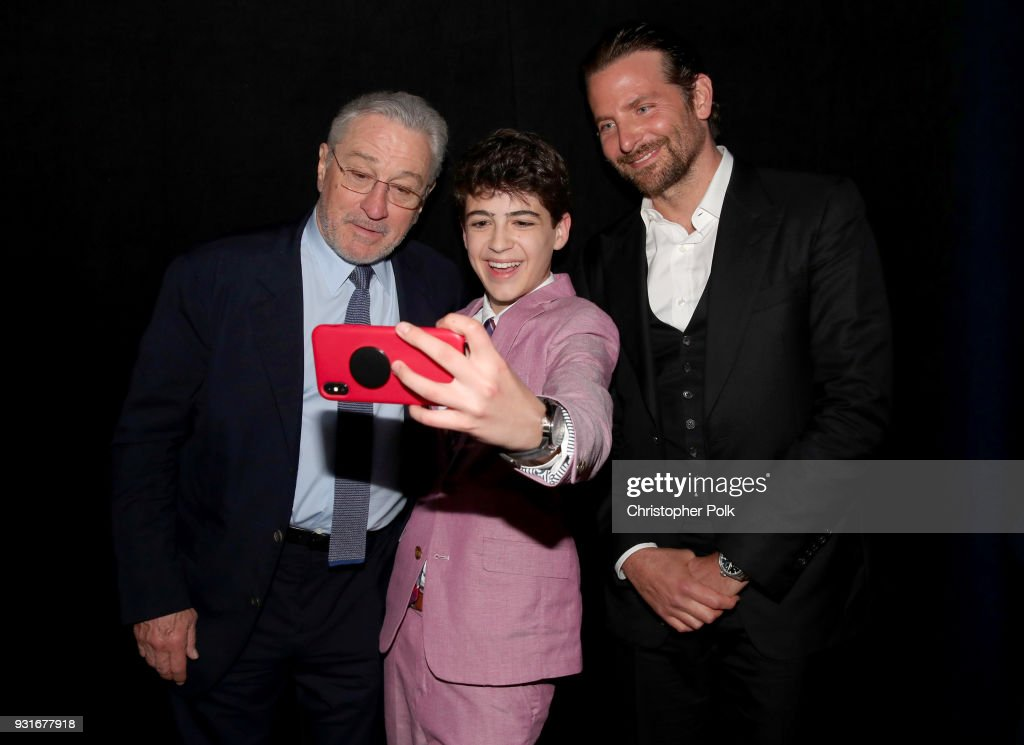 Robert De Niro, Joshua Rush, and Bradley Cooper take a selfie during A Legacy Of Changing Lives presented by the Fulfillment Fund at The Ray Dolby Ballroom at Hollywood & Highland Center on March 13, 2018 in Hollywood, California.