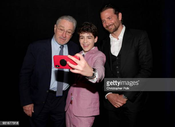 Robert De Niro Joshua Rush and Bradley Cooper take a selfie during A Legacy Of Changing Lives presented by the Fulfillment Fund at The Ray Dolby...