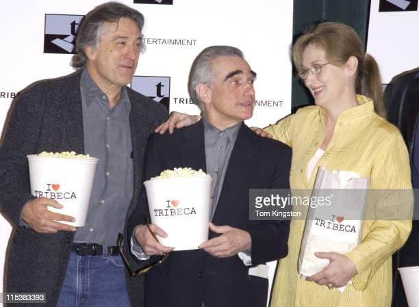 Robert De Niro Martin Scorsese and Meryl Streep during Press Conference Announcing the Creation of the Tribeca Film Festival in New York City New...