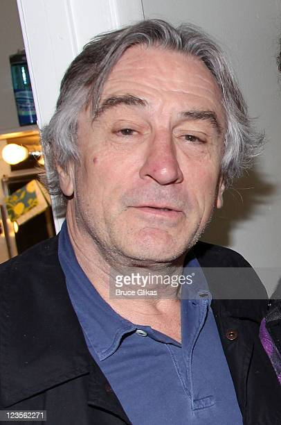 Robert De Niro poses backstage at the hit play Bengal Tiger at the Baghdad Zoo on Broadway at The Richard Rogers Theater on April 24 2011 in New York...