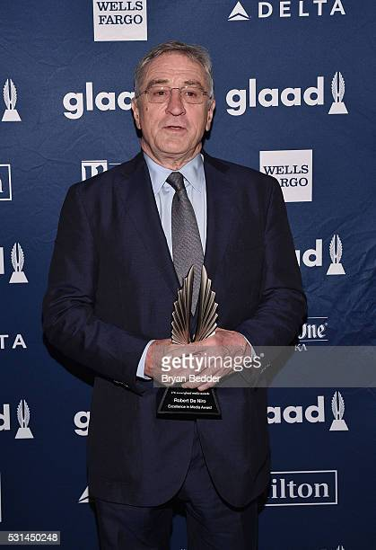Robert De Niro poses with an award at the 27th Annual GLAAD Media Awards in New York on May 14 2016 in New York City