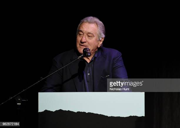 """Robert De Niro speaks at introduction for the screening of """"The Fourth Estate"""" - 2018 Tribeca Film Festival at BMCC Tribeca PAC on April 28, 2018 in..."""
