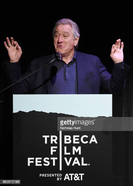 Robert De Niro speaks at introduction for the screening of The Fourth Estate 2018 Tribeca Film Festival at BMCC Tribeca PAC on April 28 2018 in New...