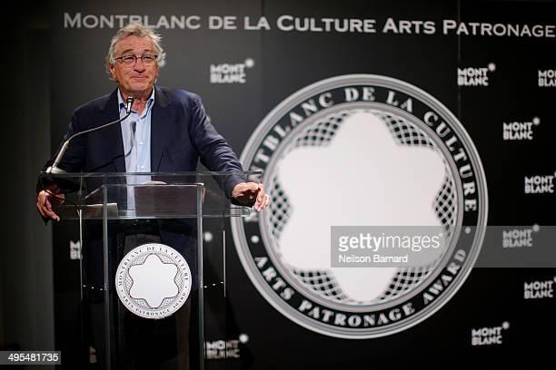 Robert De Niro speaks during Montblanc honors Jane Rosenthal at 2014 Montblanc de la Culture Arts Patronage Award Ceremony on June 3 2014 in New York...