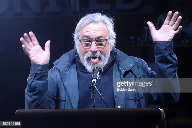 Robert De Niro speaks onstage at the We Stand United NYC Rally at Trump International Hotel Tower on January 19 2017 in New York City