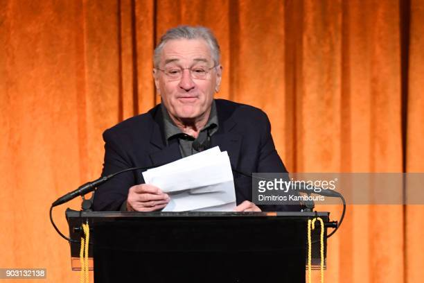 Robert De Niro speaks onstage during the National Board of Review Annual Awards Gala at Cipriani 42nd Street on January 9 2018 in New York City