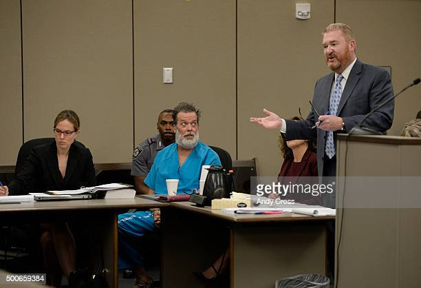 Robert Dear Jr glares at his attorney Daniel King during an appearance in court on December 09 2015 where El Paso County prosecutors filed formal...