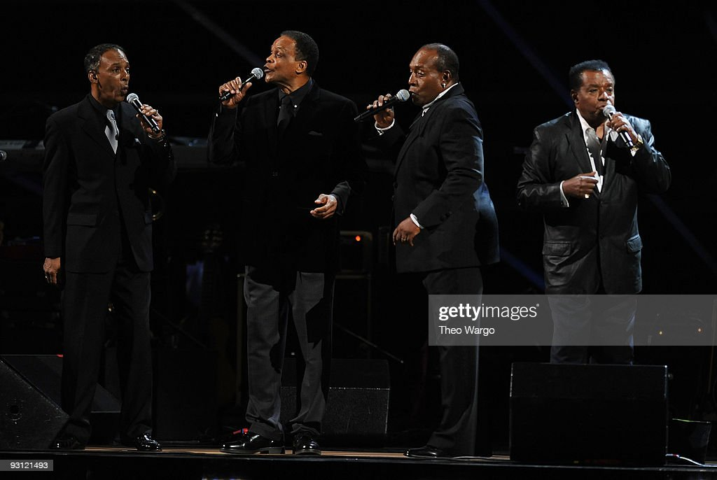 Robert DeBlanc, Ernest Wright, Clarence Collins and Little Anthony Gourdina of Little Anthony and the Imperials performs onstage at the 25th Anniversary Rock & Roll Hall of Fame Concert at Madison Square Garden on October 29, 2009 in New York City.