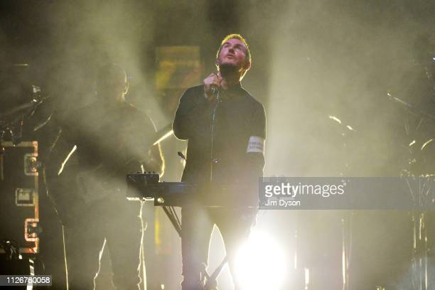Robert Del Naja aka 3D of Massive Attack performs live on stage during the Mezzanine XXI tour at The O2 Arena on February 22 2019 in London England