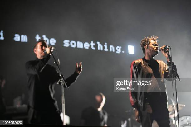 Robert Del Naja and Daddy G of Massive Attack performs during Electric Picnic 2018 at Stradbally Hall Estate on September 1 2018 in Dublin Ireland