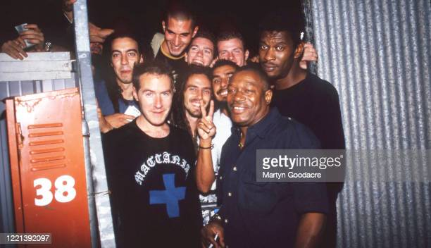 Robert Del Naja and Daddy G of Massive Attack with Horace Andy meeting fans in Italy, 1999.