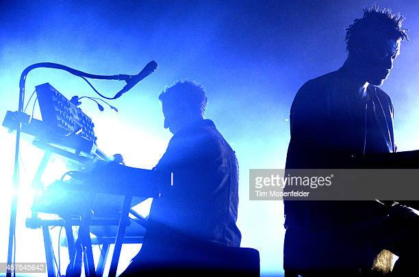 Robert Del Naja and Grant Marshall of Massive Attack perform during the Treasure Island Music Festival on Treasure Island on October 19 2014 in San...