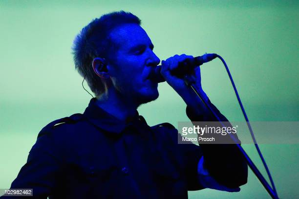 Robert Del Naja of English music production duo Massive Attack performs live on stage at the Melt festival in Ferropolis on July 18 2010 in...